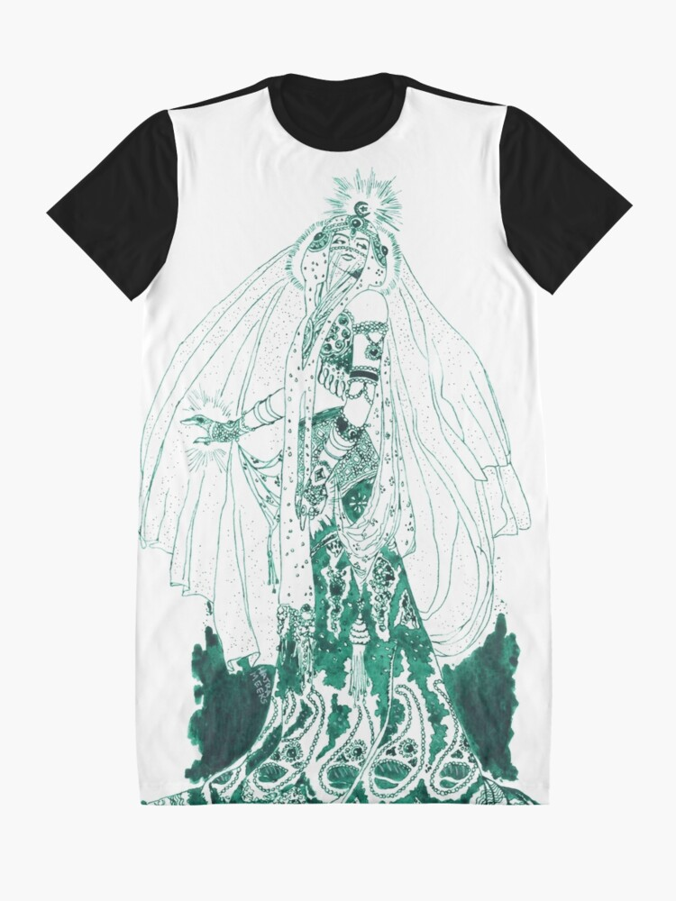 Alternate view of Enchantress in Emerald Ink Graphic T-Shirt Dress