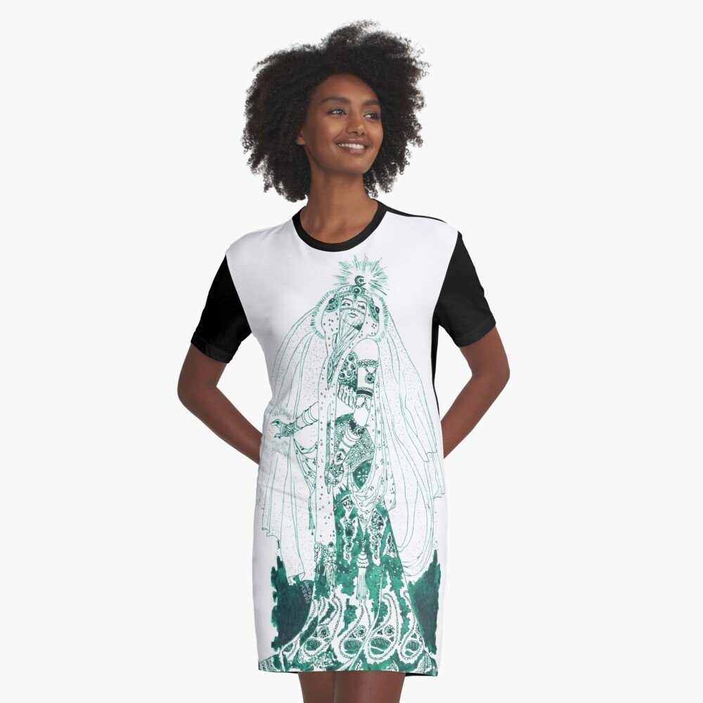 Enchantress in Emerald Ink Graphic T-Shirt Dress Front