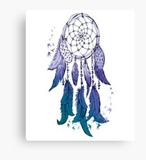 DreamCatcher Electric-Blue Fading Effect Spiritual TShirt. Canvas Print