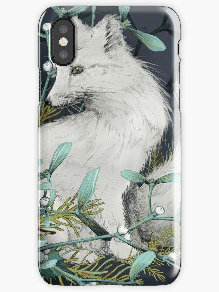 Arctic Fox Holiday Portrait by lascarlatte