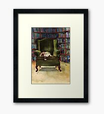 Monkey's Library Framed Print