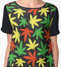 Weed leaf rasta pattern Chiffon Top
