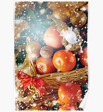 Christmas Decorations with Tangerine and Toy Santa Poster