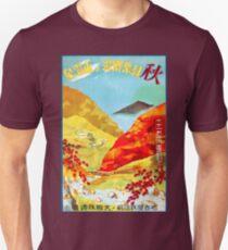 Vintage Red Leaves at Yunoyama Onsen Japan Travel Unisex T-Shirt
