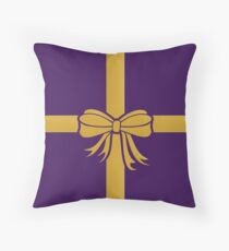 Wrapped Gift Bow Throw Pillow