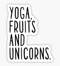 Pegatina Yoga, frutas y unicornios