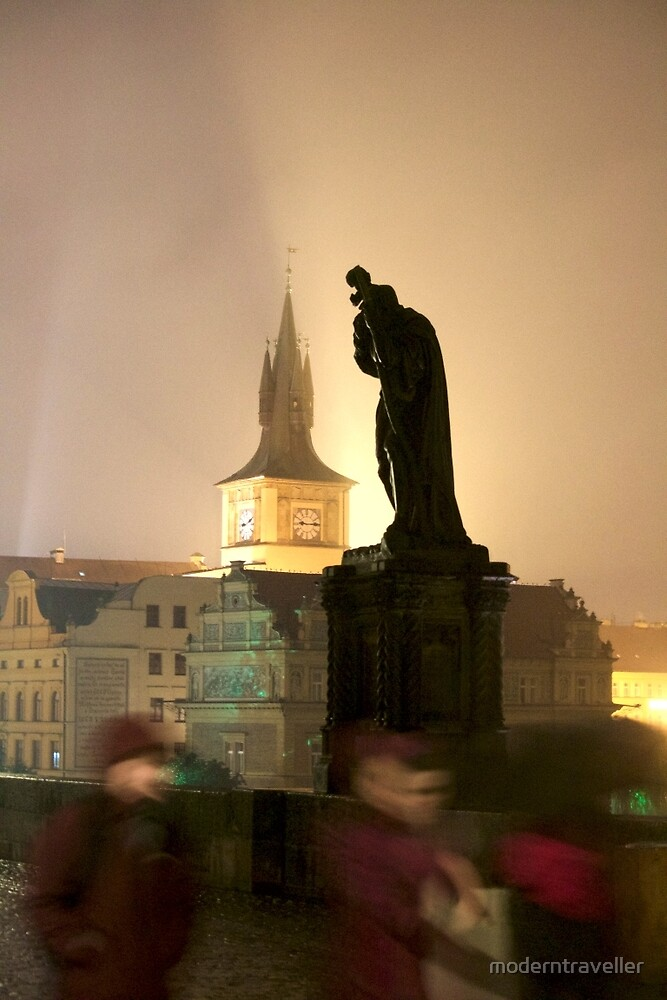 Silhouetted statue at night, Prague by moderntraveller