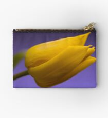 Single Yellow Tulip on Purple Studio Pouch