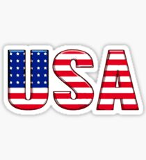 USA United States of America Font with American Flag Sticker