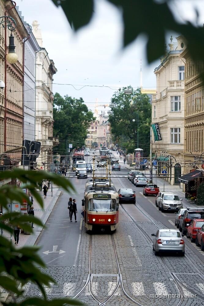 Street car in Prague by moderntraveller