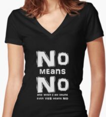 NO Means NO and when I'm drunk even Yes means NO Women's Fitted V-Neck T-Shirt
