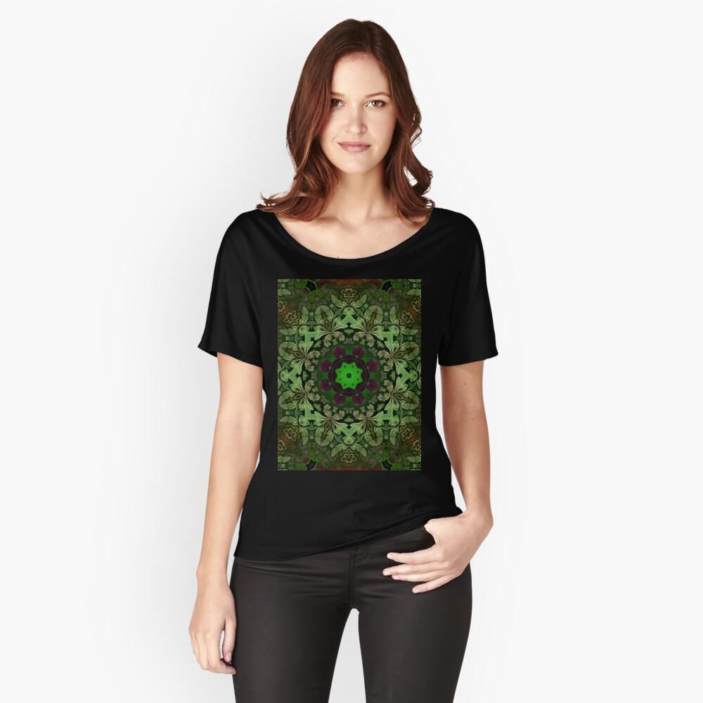 Kunstböhmisches Druckwaldgrün Mandala der Renaissancekunst Loose Fit T-Shirt