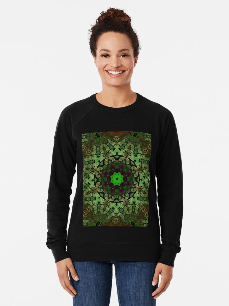 Alternative Ansicht von Kunstböhmisches Druckwaldgrün Mandala der Renaissancekunst Leichter Pullover