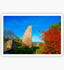 Old medieval castle ruins in Alsace, France. Sunny autumn day. Sticker