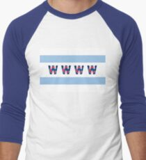 Cubs Win Chicago Flag With Red/Blue C Men's Baseball ¾ T-Shirt