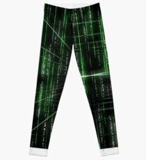 Abstract matrix pattern - digitally generated image Leggings