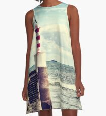 Amble Pier Lighthouse A-Line Dress