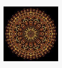 Orange and Yellow Glowing Mandala Photographic Print