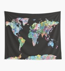 world map mandala 7 Wall Tapestry