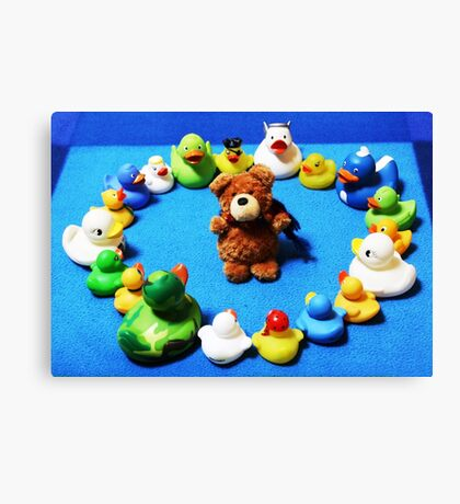 Benny Bear in Duck Blessing Circle Canvas Print