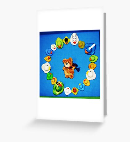 Benny Bear in Duck Blessing Circle, from above Greeting Card