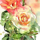 Watercolour painting of roses Day 445. by akolamble