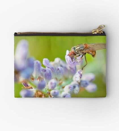 Hover fly on lavender - efef59a38f544cf79445844db6ea90e9 Zipper Pouch