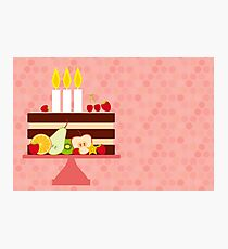 Happy Birthday Cake with Candles Photographic Print
