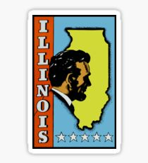Illinois State Abe Lincoln Vintage Travel Decal Sticker
