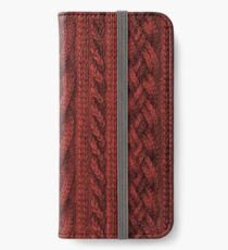 Cardinal Red Cable Knit iPhone Wallet