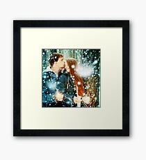 Young Family in a Winter Forest with Sparklers Framed Print