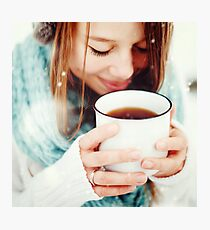 Female Drinking Hot Drink Outdoors in Winter Photographic Print