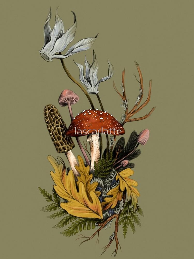 Autumnal Mushroom Woodland Scene by lascarlatte