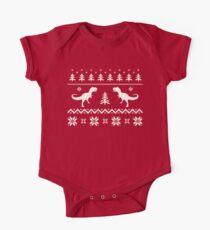 Christmas Ugly Sweater pattern dinosaur  One Piece - Short Sleeve