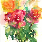 Watercolour painting of roses Day 410. by akolamble