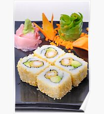 plate of Inside out Sushi  Poster