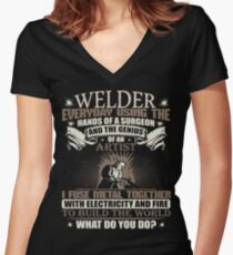 Welding Soft Screen Printed Summer graphic Welder gift Tshirt Women's Fitted V-Neck T-Shirt