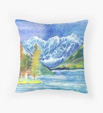 Watercolor mountains winter or autumn landscape. Shavlinskie lakes. Altai. Throw Pillow
