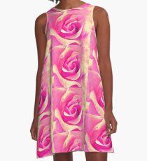 Rosenblüte - rosa - gelb - Wassertropfen - Rose - yellow - pink A-Linien Kleid