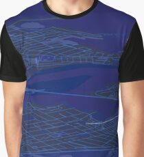 Sydney Inner West Blue Map Perspective Projection Graphic T-Shirt
