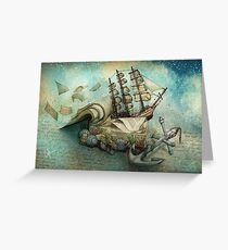 Now I lay me down to read, i travel leagues before i sleep Greeting Card