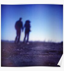 Romantic couple walking holding hands on beach in blue Medium format color negative film photo Poster