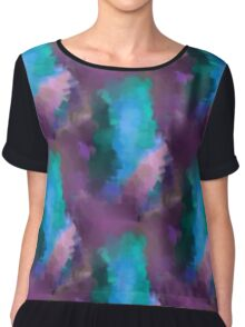 Abstract Blue Turquoise And Purple Colors Women's Chiffon Top