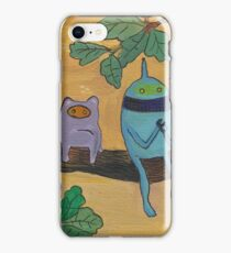 Robot and a monster on a tree iPhone Case/Skin