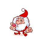 Christmas gnome blows a kiss. Funny cartoon character. by Victoria Kosheleva