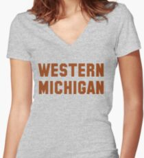 Western Michigan Block Women's Fitted V-Neck T-Shirt