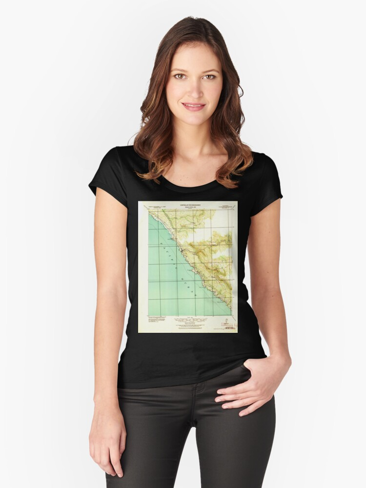 USGS TOPO Map California CA Plantation 298571 1921 62500 geo Women's Fitted Scoop T-Shirt Front