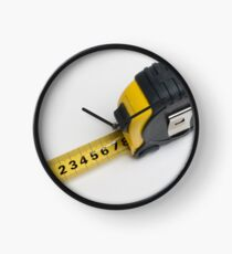 a yellow measuring tape on white background Clock