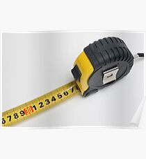 a yellow measuring tape on white background Poster