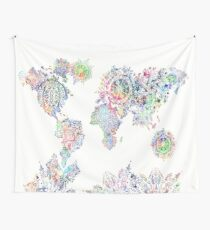 world map mandala white Wall Tapestry